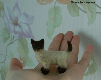 Cat. Siamese cat. Miniature animal. Realistic cat for your Dollhouse Scale 1:12.Doll miniature