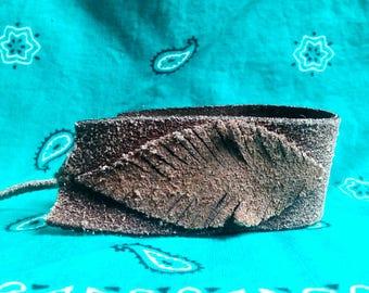 Leather Feather Bracelet