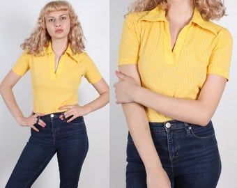 70s Bodysuit Top // Vintage Yellow Collared Short Sleeve Shirt Mens Womens - Small to Medium