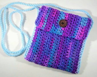 Crocheted cross body satchel, blue purple magenta and baby blue strap, buttoned purse, bag, cool colors, brown button, personal items