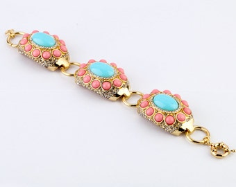 Pink and blue statement bracelet