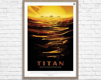Space Poster, TITAN Saturn's largest moon, Space Travel, Nasa Space Poster, Space Travel, NASA Space Poster, Space Art, Nasa Art