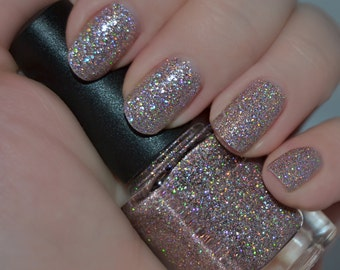 Kourtney's Krystals - Pink and Holographic Glitter Nail Polish