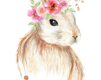 Watercolour Bunny Rabbit with Flower Crown - Print