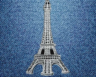 White Eiffel Towe France Landmark Paris Patch Embroidered Iron On Patches DIY By IronOnDIY