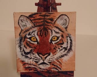 Tiger Handmade painting on mini canvas (6.5cmx6.5cm/2.6inx2.6in),with custom made,painted (6.5x12.5cm/2.6inx4.9in) tripod included.