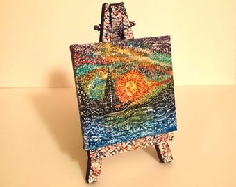 Sea Handmade painting on mini canvas (6.5cmx6.5cm/2.6inx2.6in),with custom made,painted (6.5x12.5cm/2.6inx4.9in) tripod included.