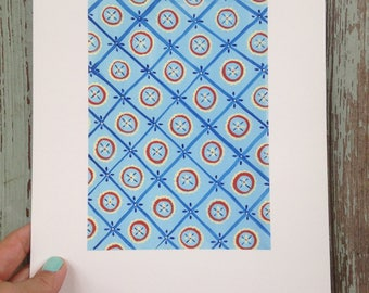 Circle in the Square on Blue  Archival Print of an Original Gouache Painting