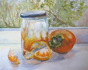 Fruit watercolor Original watercolor still life Food Art Kitchen wall Art print decor Watercolor Print Fruit art print  Honey Persimmon