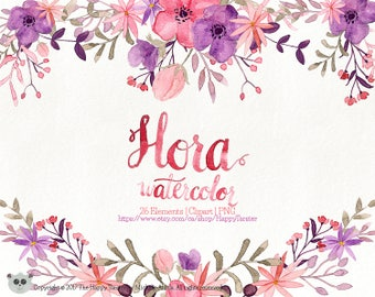 80% OFF! Watercolor Flora 02 Clipart, Flowers Clipart, Flower, Floral, Wreath, Bouquet, PNG, Clip Art, Watercolour, Purple, Pink