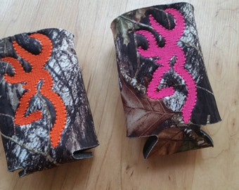 Camo Insulated Can holders - Woods, Deer head, antlers - Monogram - Mr and Mrs wedding gift - bridal shower gift - gifts for men, couples