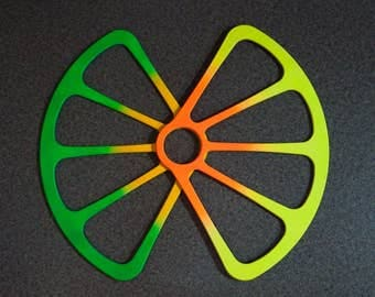 Sliced fans, fluorescent (neon) colors, one pair
