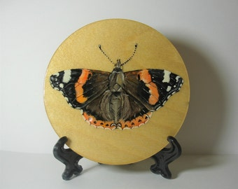 Red Admiral Butterfly On A Wooden Disk - 10cm - Original Painting - Acrylic Painting - Decorative Ornament  With Stand