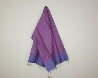 Blue/Red Check Silk Scarf
