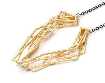 gold geometric necklace, 3D printed jewelry, statement necklace, eye catcher pendant, abstract jewelry, architecture necklace