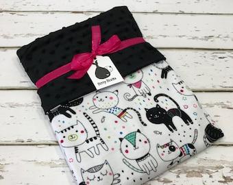 Cat Baby blanket Baby girl blanket Baby shower gift kitten blanket pink Minky blanket Girl baby Shower gift toddler Blanket jersey knit