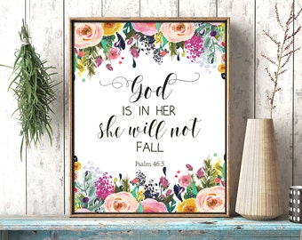 God is in her she will not fall Psalm 46:5 Printable wall decor Bible verses, girl nursery, verse decor scripture art printable download
