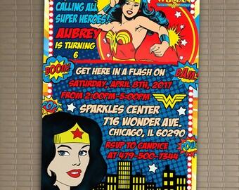 Wonder Woman Invitation, You Print Invitation, Wonder Woman Birthday Party Invite, Wonder Woman 5x7 Or 4x6 Party Invitation, Digital Item