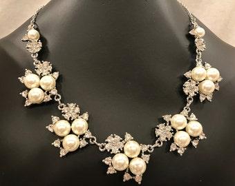 Vintage Pearl and Rhinestone Wedding Necklace