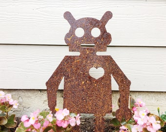 Robot Garden Decor - Robot Art - Metal Garden Robot - Garden Art - Yard Decor - Robot Decor