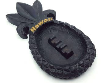 Made in Hawaii from Lava Rock Pineapple Ashtray by Poly-Art Vintage Cigarette Smoking Break Tiki Bar Tropical Island Souvenir Collectible
