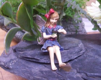"Fairy Garden Fairy ""Jillian"", Fairy Garden Accessory, Garden Decor, Miniature Gardening, Topper"