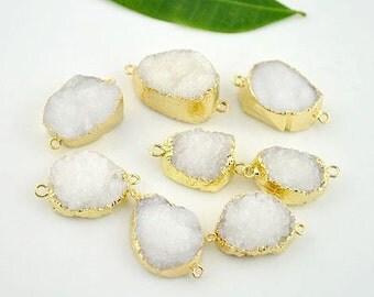 Natural white druzy quartz stone beads crystal gemstone jewelry connector beads