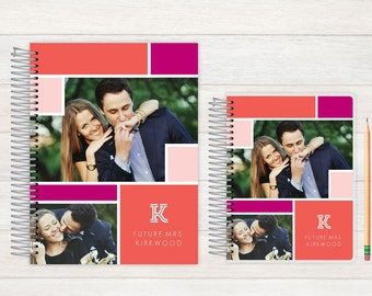 Wedding Journal, Wedding notebook, custom Wedding journal, Personalized Bridal journal, Personalized journal, colorblock
