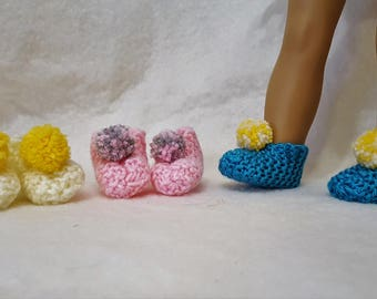 3 Pair Hand Knit Slipper/Booties for American Girl or 18 in Doll