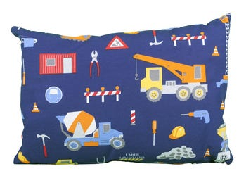 Pillow rectangle child construction construction vehicle
