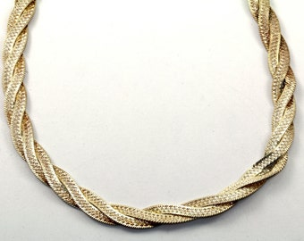 Vintage Braided Twisted Flatten Style Chain Necklace 925 Sterling Silver NC 371