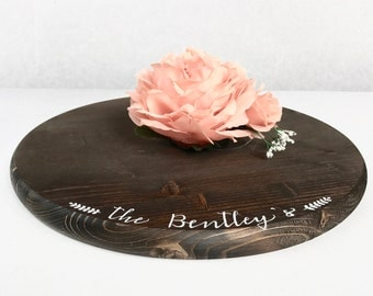 "15"" Custom Rustic Cake Stand - Round Wedding Cake Stand - Rustic Wedding Decor"