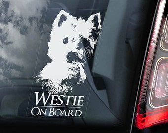 Westie - Car Window Sticker - Dog on Board Sign - Decal West Highland White Terrier -V01