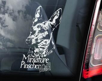 Miniature Pinscher on Board - Car Window Sticker - Zwergpinscher Min Pin Dog Sign Decal - V02