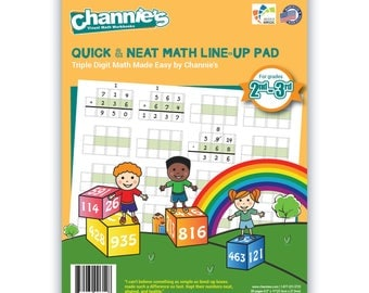 Channie's Triple Digit Math LineUP Pad. 80 pages blank triple digit work format to assist math accuracy.