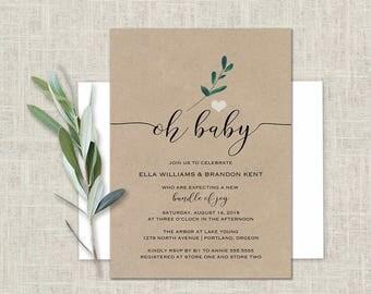 Baby Shower Invitation Kraft Paper Greenery Baby Shower Gender Neutral Baby Shower Brunch Floral Baby Shower Printed or DIY Home Print Card