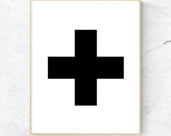 Black Cross Wall Art - Digital Print, Instant Download - Home decor, wall art, print.
