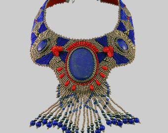 Embroidered bib necklace, ras neck, with natural stone lapis lazuli and coral