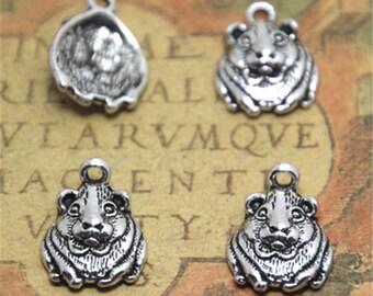 20pcs Hamster Charms silver tone Guinea Pig or Gerbil charm pendants 14x18mm ASD1872