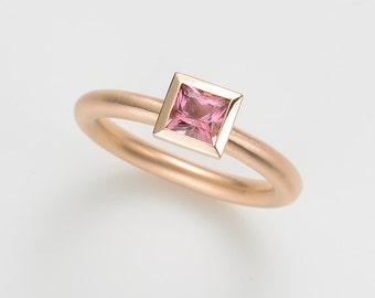 18kt rose gold cocktail ring, engagement TOURMALINE pink, wedding, wedding, wedding ring, stacking ring, birthstone tourmaline