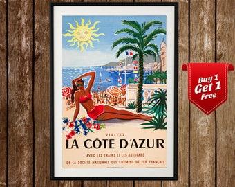 Cote d'Azur Vintage Poster, Cote dAzur Print, French Riviera Print, Azure Coast, French Travel, French Coast,  Vintage Travel Posters