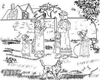 Moms Meet-A Hand Drawn Vintage Coloring Page