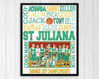 BASKETBALL TEAM GIFT ~ Basketball Gifts ~ Personalized Basketball ~ Boys Basketball Team ~ Printable Basketball Subway Art ~ Personalized