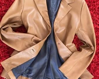 Sweet Brown Soft Lamb Leather Blazer Jacket Women M Spain Made