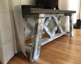 Bench, rustic bench, XX bench