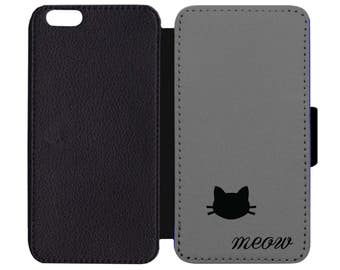 Kitty Kitten Cat Animal Meow Print Pattern Leather Wallet Flip Phone Case Cover Apple iPhone 5 5S 6 6S 7 Plus