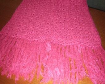 Crochet scarf Fuchsia cm 160x55 +20