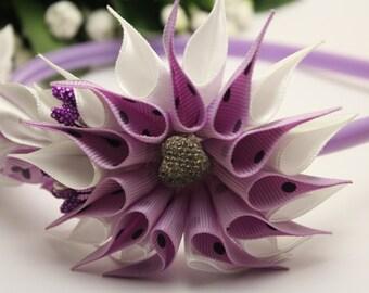 Handmade kanzashi spotted purple and white girl hair band, hair band