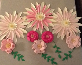 Beautiful pink and cream backdrop,total of 8 flowers