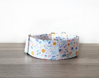 Floral Flowers Cute Orange Pink Purple Martingale Quick Release Collar Whippet Greyhound Italian